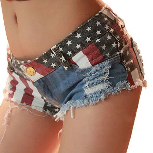 LUNIWEI Women US Flag Jeans Hot Pants Denim Low Waist (27)