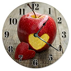 Large 10.5 Wall Clock Decorative Round Wall Clock Home Decor Novelty Clock APPLE WITH HEART CUT OUT