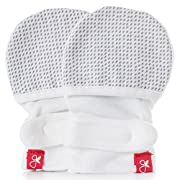 Goumikids Goumikids - Goumimitts, Scratch Free Baby Mittens, Organic Soft Stay On Unisex Mittens, Stops Scratches and Prevents Germs, Drops (Gray, 0-3 Months)