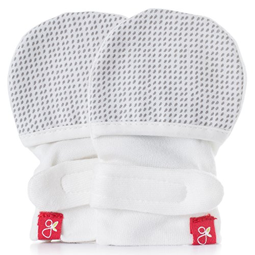 goumikids - goumimitts, Scratch Free Baby Mittens, Organic Soft Stay On Unisex Mittens, Stops Scratches and Prevents Germs - (Drops - Gray, 3-6 Months)
