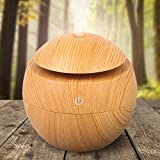 REDGO 130ml Humidifier Aroma Aromatherapy Essential Oil Diffuser, Wood Grain USB Color Changing Cool Mist Whisper Quiet Scent Spa Diffusers