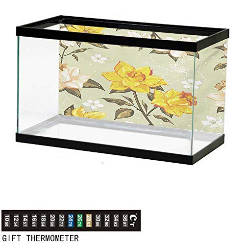 Aquarium Background,Flower,Classy Spring Floral Narcissus Branch Pattern with Dots and Line Artwork,Yellow Khaki Cream Fish Tank Backdrop 36