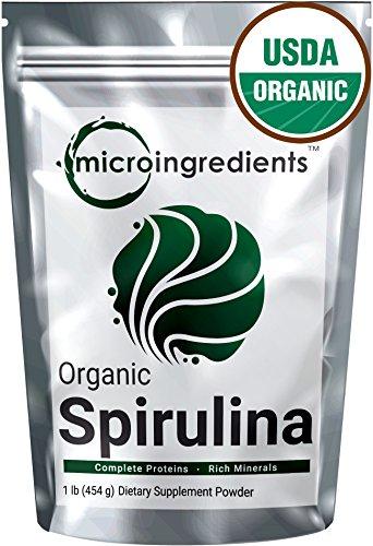 Micro Ingredients USDA Organic Spirulina Powder, 1 Pound, Best Superfood Rich Vitamins & Minerals, Non-Irradiated, Non-Contaminated