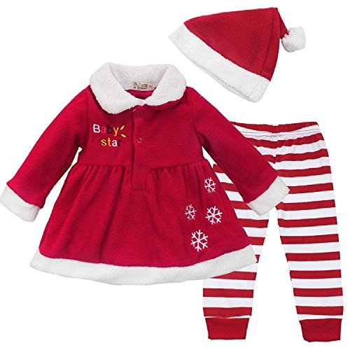 FAYALE Baby Girls Snowflake Santa Dress Candy Stripe Leggings Xmas Hat Outfit (Baby Girls Santa Dress)