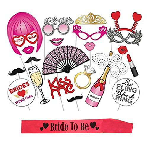 JUMUU Bachelorette Party Kit Photo Booth Props Supplies With Sticks No DIY Required with a Free Pink Bride to Be Sash for Bachelorette Party ,Hen Party ,Bridal Shower