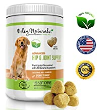 Deley Naturals, Advanced Arthritis Pain Relief for Dogs, Hip Joint and Dysplasia Support, 120 Chicken Soft Chews, Glucosamine for Dogs with Chondroitin, MSM and Organic Turmeric, 100% Natural Supplement