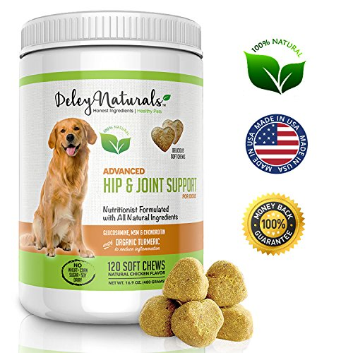 Deley Naturals Advanced Arthritis Pain Relief for Dogs. Best Glucosamine for Dogs with Chondroitin, MSM & Organic Turmeric. 100% Natural Hip & Joint Supplement for Dogs. 120 Chicken Soft Chews