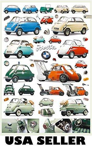 BMW Isetta Assortment POSTER 23.5 X 34 Mini Car Models Thru The Years  Minicar Similar To