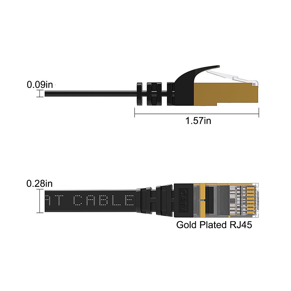 Cat7 Ethernet Cable 100 FT Black, Intelart Cat-7 Long Flat RJ45 Computer Internet Lan Network Ethernet Patch Cable Cord - 100 Feet by Intelart (Image #4)