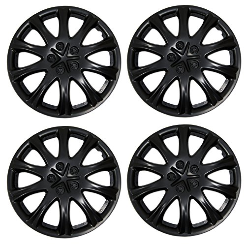 Tuningpros WC3-15-503-B - Pack of 4 Hubcaps - 15-Inches Style 503 Snap-On (Pop-On) Type Matte Black Wheel Covers Hub-caps ()