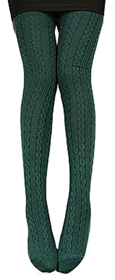 24c5f6d03 Demarkt Knitted Knit Tights Winter Leggings(dark Green) at Amazon ...