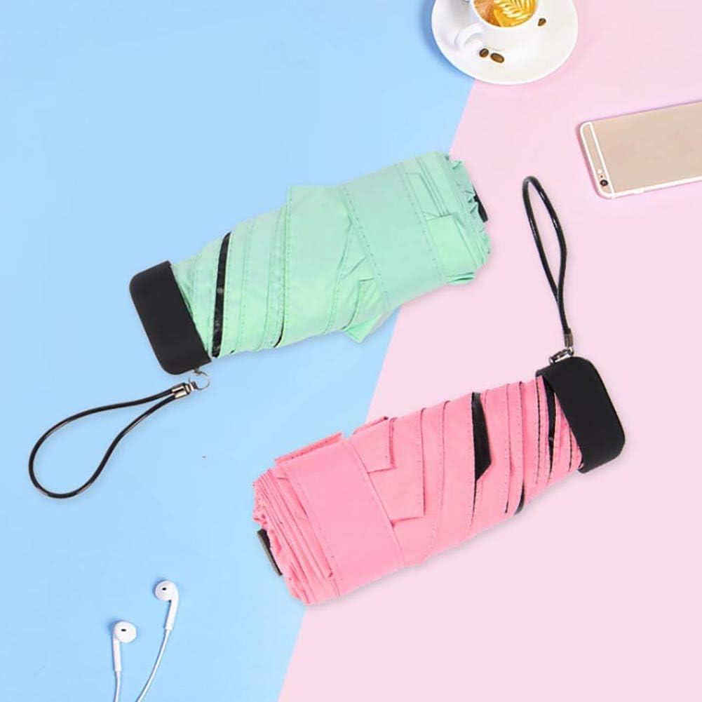 XdiseD9Xsmao Unisex Portátil Plegable Sol Lluvia Luz Solar Paraguas UV Duradero A Prueba De Viento Impermeable Viaje Mini Bolsillo Sombrilla con Una Cubierta Protectora Verde