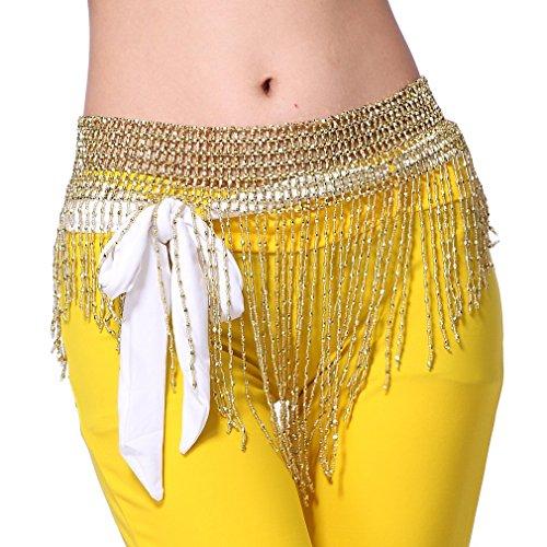ZLTdream Women's Belly Dance Tassel Beaded Hip Scarf Gold