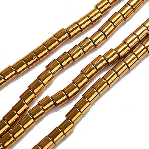 - Gold Natural stone Hematite Tube loose spacer 4mm 6mm Pick Size Beads For Jewelry Making 16