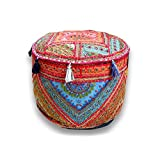 Indian Handmade Ottoman Pouf ,Vintage Patchwork Ottoman, Home Living Room Decorative Foot Stool Cover,Embroidered Chair Cover 13x18 Inch.