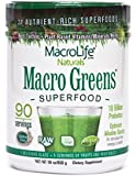 """Macro Greens Superfood - 18 Billion Non-Dairy Probiotic Cultures - Raw Green Superfood - Certified Organic Barley Grass Powder - 5+ Servings Of Fruits & Vegetables - America's """"Best Tasting Greens"""" - Non GMO - Vegan - Gluten & Dairy Free - 90 Servings - 30 oz (850 g)"""