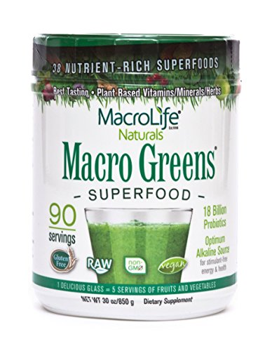 Macro Greens Superfood - 18 Billion Non-Dairy Probiotic Cultures - Raw Green Superfood With Concentrated Polyphenols - Certified Organic Barley Grass Powder - 5+ Servings Of Fruits & (Macrolife Naturals Macro Greens)