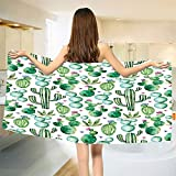 smallbeefly Green Bath Towel Mexican Texas Cactus Plants Spikes Cartoon Like Artistic Print Bathroom Towels White Pale Pink and Lime Green Size: W 27.5'' x L 67''