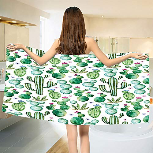 smallbeefly Green Bath Towel Mexican Texas Cactus Plants Spikes Cartoon Like Artistic Print Bathroom Towels White Pale Pink and Lime Green Size: W 27.5'' x L 67'' by smallbeefly