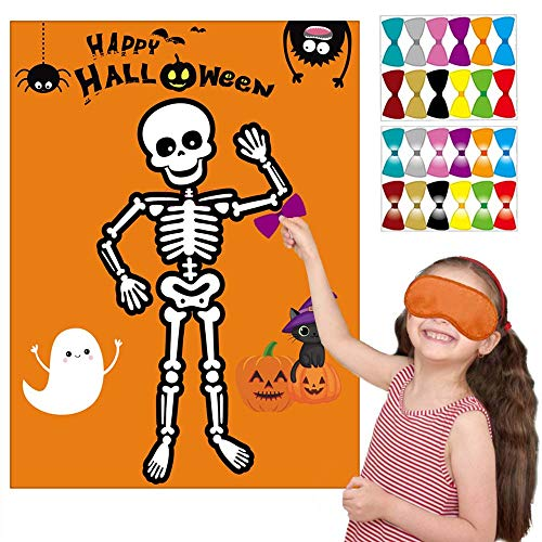 Birthday On Halloween (Happy Storm Halloween Party Games Pin the Bow Tie on the Mr. Bones Game Halloween Birthday Party Supplies Favors for Kids Halloween Pin Game with 24 Bow Tie Reusable)