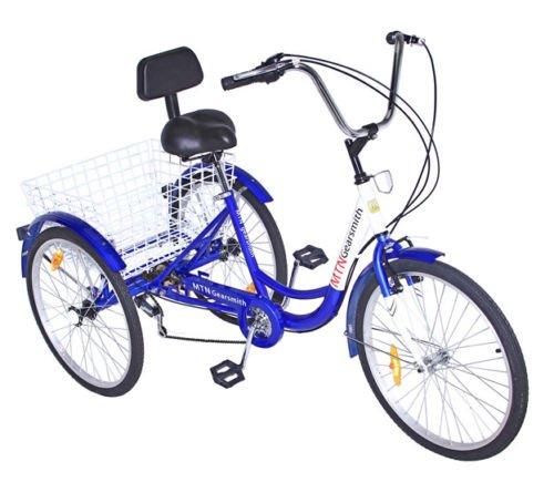 Mophorn Adult Tricycle 24 Inch 3-Wheel Bike 6/7 Speed Adult Trike Men'S/Women'S Wheeled Cruiser With Basket Free Wheel (7 speed)