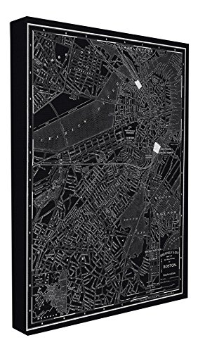 Boston Usa Wall (Stupell Home Décor Boston 1985 Vintage Map Oversized Stretched Canvas Wall Art, 24 x 1.5 x 30, Proudly Made in USA)