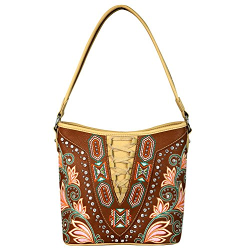 Montana Purse Brown Lace Carry up Handbags 116 Hobo Embroidered West Concealed MW560G UwrxU8Hq