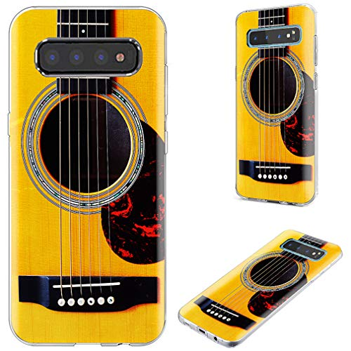 Samsung Galaxy S10 Case, VoMotec Full Protective Anti-Scratch Slim Flexible Soft TPU Silicone Back Cover Phone Cases for Samsung Galaxy S10 6.1 inch 2019,Funny Music Design Yellow Acoustic Guitar (Pretty Guitar Case)