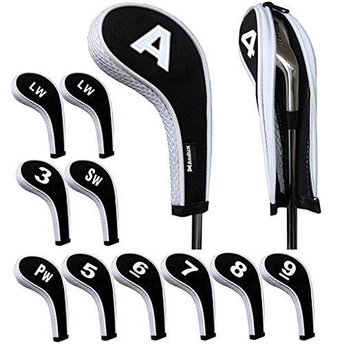 Andux Number Print Golf Iron Covers with Zipper Long Neck 12pcs/Set Black/White Mt/w08+2LW