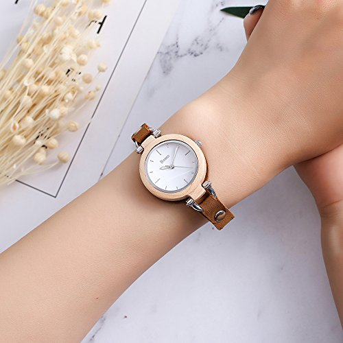 Wood Watch,Bosan Women Stylish CD Line Small Face Unique Design Wooden Wrist Watch with Light Genuine Leather Strap(Maple) by Bosan (Image #3)