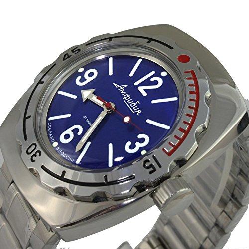 Auto Diver Watch (Vostok Amphibian 090914 / 2415b Russian Military Watch Auto Divers 200m Scuba Blue)