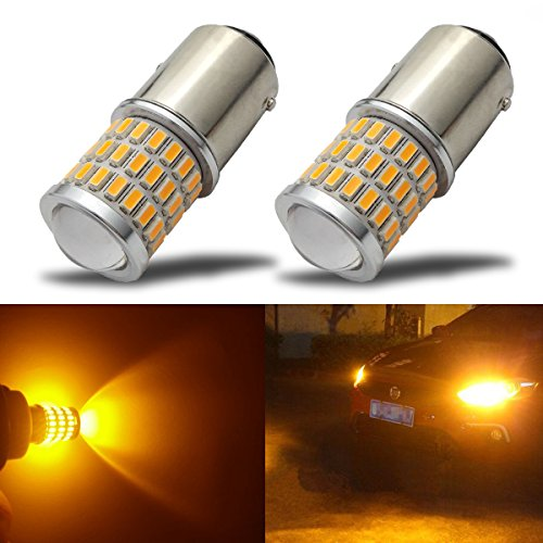1157 Led 12v Bulb (iBrightstar Newest 9-30V Super Bright Low Power 1157 2057 2357 7528 BAY15D LED Bulbs with Projector replacement for Turn Signal Lights,Amber Yellow)