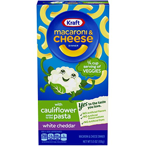 Kraft White Cheddar Macaroni and Cheese with Cauliflower Pasta, 5.5 oz Box