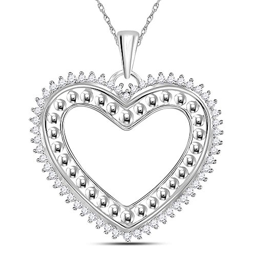14k Heart Beaded (Roy Rose Jewelry 14K White Gold Womens Round Diamond Beaded Heart Pendant 1/4-Carat tw)
