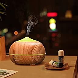 Tenswall 400ml Ultrasonic Aromatherapy Essential Oil Diffuser, Cool Mist Humidifier - Whisper Quiet Operation - Natural Color-Changing LED Light & Auto Shut-Off Function - 4 Timer Settings