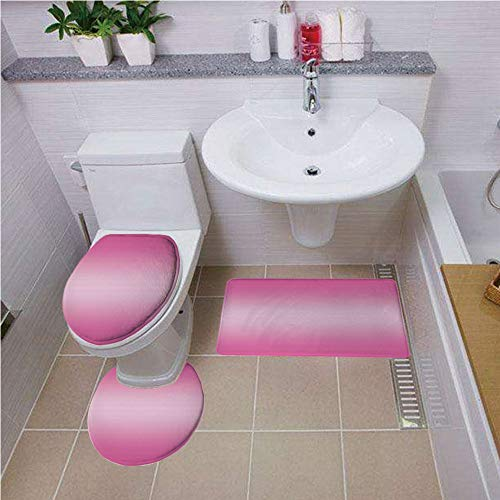 - Bath mat Set Round-Shaped Toilet Mat Area Rug Toilet Lid Covers 3PCS,Ombre,Pink Candy Sweets Inspired Girls Room Colored Vivid Decorations Digital Modern Art Print,Pink,Pattern Rug Set