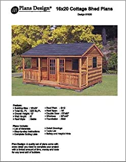 16u0027 X 20u0027 Cottage Shed with Porch Project Plans -Design #61620  sc 1 st  Amazon.com & 16u0027 x 24u0027 Guest House / Garden Storage Shed with Porch Plans ...