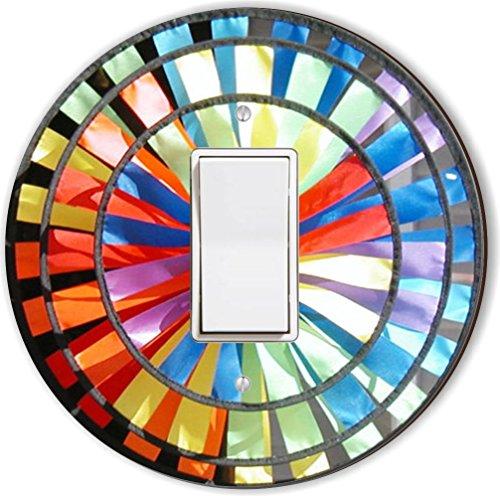Rikki Knight Colorful Pin Wheel Design Round Single Rocker Light Switch Plate