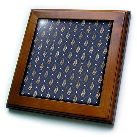 3dRose Anne Marie Baugh - Patterns - Chic Blue and Image of Gold Sea Shells in Diamond Point Pattern - 8x8 Framed Tile (ft_317634_1)