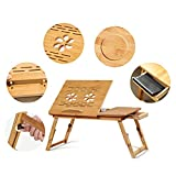 Yofit Bamboo Laptop Desk Adjustable Foldable Breakfast Serving Bed Tray with Tilting Top Drawer