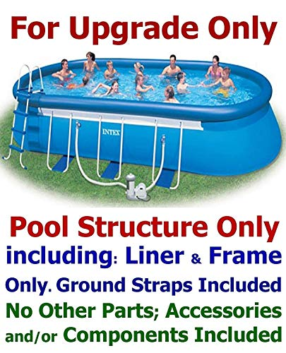 Intex 24' x 12' x 48'' Oval Ellipse Frame Easy-Set Pool Structure with Frame Only (Pool Structure and Frame, w/ Ground-Straps; Ground-Cloth & Cover)