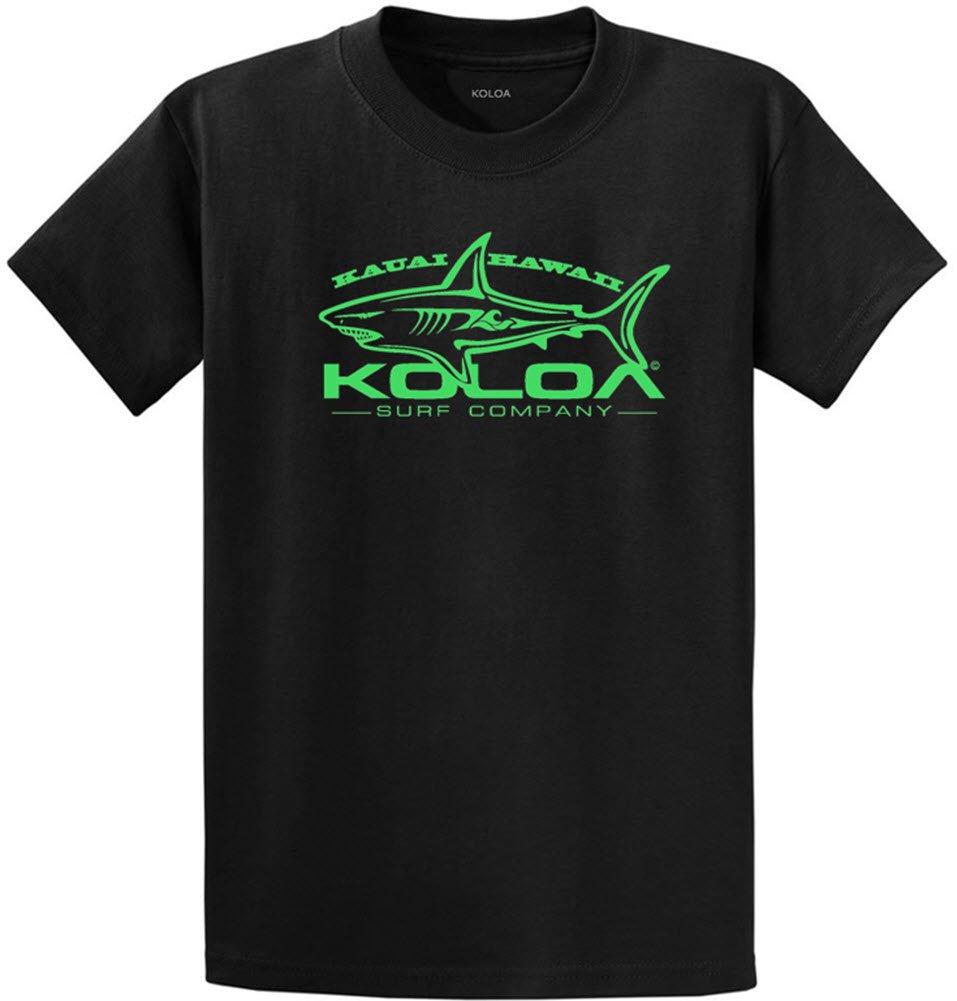 Koloa Surf Great White Shark Logo Heavyweight Cotton T-Shirt-Black/Green-S
