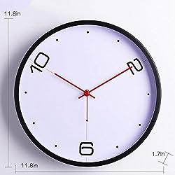 GuoEY Wall Clock Modern Minimalist Wall Clock Creative Digital Personality Home Wall Clock Circular Clock,Whiteplusblack