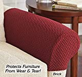 Set of 2 Pixel Pattern Stretchable Fabric Non-Slip Recliner Armrest Cover - 23'' Front to Back, 20'' Side to Side, Machine Washable (Brick)