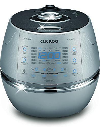 - Cuckoo Electric Induction Heating Rice Pressure Cooker 10 Cup Full Stainless Steel Interior with Non-Stick Coating - 3 - Language Voice Navigation and LED Screen with Touch Selection Menu - Metallic