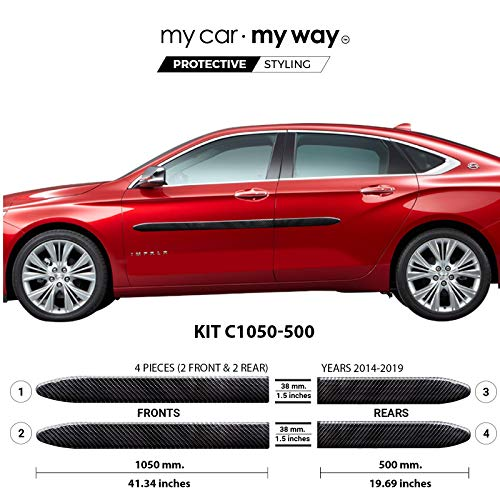 My Car My Way (Fits) Chevrolet Impala 2014-2019 Real Carbon Fiber Body Side Molding Moulding Cover Trim Door Protector