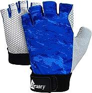 Drasry UV Fishing Gloves Fingerless Sun Protection Men Women UPF50+SPF for Fishing Kayaking Paddling Hiking Sa