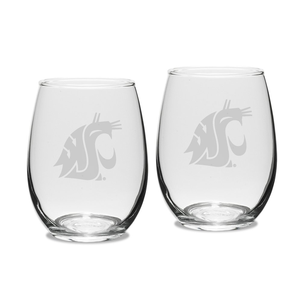 NCAA Washington State Cougars Adult Set of 2-15 oz Stemless Wine Glass Deep Etched Engraved, One Size, Clear