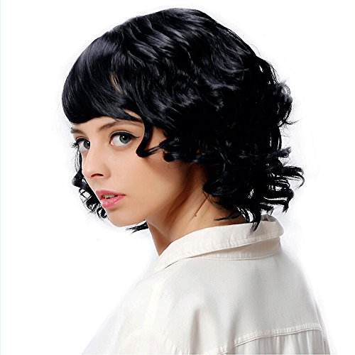 Vibola Fashion Women's Sexy Full Ms. Oblique Liu Fluffy Short Volume Hair Wig (Sexy Updo)
