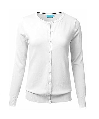 3069f1ae92 BIADANI Women Button Down Long Sleeve Crewneck Soft Knit Cardigan Sweater  (Medium